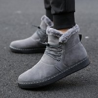 New Fashion Trend England Style Young Casual Scarpe da uomo Warm Snow Boots Fur Inside Polpacci da uomo Mid Black Boots in pelle Boot Boot Size39-44