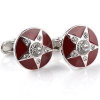 Wholesale Luxury Red Cufflinks - Mens Fashion Round Star Luxury Cufflinks Crystal Red Enamel Pentagram Men's Fashion Jewelry French Shirt Cuff Links Accessories 6