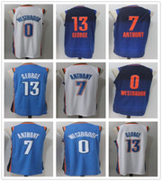 Wholesale George Shirts - 2017 2018 New Style 13 Paul George Jersey All Stitched Blue Orange White 7 Carmelo Anthony Jerseys 0 Russell Westbrook Shirts
