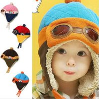 Wholesale Toddler Girl Hat Muff - 4 Colors Toddlers Cool Baby Boy Girl Kids Infant Winter Pilot Aviator Warm Cap Hat Beanie Ear Flap Soft Hat c126