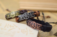 Wholesale Men Peace New Bracelets - World Peace Sign Bracelets Men Jewelry Genuine Leather Bracelets for Women Gifts Men Bracelet 100% New men bracelets