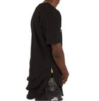 zíperes do t-shirt dos homens venda por atacado-Lado Zipper Estendido Homem Hip Hop Hiphop Ganhos Longos Casuais T Shirt Top Tees Justin Bieber Estilo Roupas Roupas VC2925
