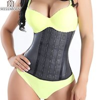 Wholesale Rubber Trims - Wholesale- Miss Moly Women Fajas Trimmer Trainer Black Shapewear Body Shaper LATEX RUBBER Waist Underbust Cincher Corset Plus Size S-6XL