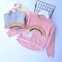 Everweekend Cute Girls Boys Grey Pink Rainbow Cloud Вязаный свитер Кардиганы Симпатичные дети Baby Autumn Jacket Outwears