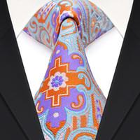 Wholesale Mens Necktie Pattern - F25 Multicolor Blue Orange Purple Pattern Mens Ties Neckties 100% Silk Jacquard Woven Beautiful Free Shipping
