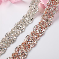 Wholesale crystal trim for wedding dresses for sale - Group buy 5Yards Sewing Bridal Beaded Rose Gold Silver Crystal Rhinestones Appliques Trim For Wedding Dress Belt Sashes