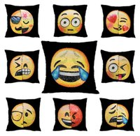 Wholesale Funny Pillowcases - Emoji Cushion Cover Reversible DIY Sequin Mermaid Pillow Case Funny Changing Smiley Faces Decorative Pillowcase c234