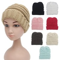 Wholesale Cotton Skull Baby - Winter Knitted Wool Baby Hat Unisex Girl Boy Kids Folds Casual Beanies Solid Color Hip-Hop Skull Caps free shipping