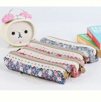 Wholesale Case For Pencils Woman - Wholesale-3 Colors Fashion Flower Lace Floral Zipper Pen Pencil Case Cosmetic Makeup Jewelry Bag organizer For Women Lady Girls