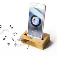 Wholesale Iphone Stand Amplifier Speaker - Bamboo Universal Phone Small Holder for iPhone for Samsung Amplifier Speaker Cell Phone Stand Wood Tablet Music Movie Play Player Device