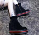 Wholesale Sheep Black High Heeled Shoes - 2017 new arrived Within the increase women boots Genuine Leather boots original 1 1 with high hell 7CM sheep fur inside ladies shoes YF