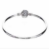 Autêntica 925 Sterling Silver Desney, Beauty The Beast Bangle Bracelet, Clear CZ Fit DIY Rad iant Hearts Charm Beads Jewelry