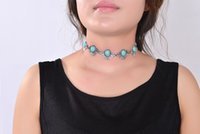 Wholesale Turquoise Jewelry Beads For Sale - 2017 New Hot Boho Collar Choker Silver Necklace jewelry for women Fashion Ethnic style Bohemian real stone Beads neck whole sale