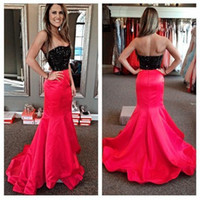 Wholesale Strapless Evening Dress Mermaid - Custom Made Black And Fushia Evening Dresses 2016 Strapless Mermaid Sequined Prom Gowns Sexy Party Gowns