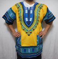 Wholesale Tee Shirt Collar Design - Wholesale-Hipster Men African fashion design african traditional print Dashiki T tee Shirt dress african women bazin dress