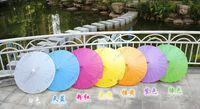 Wholesale Sunshade Paper - Wedding Parasols Paper Parasol Sun Umbrellas Bridal Accessories Handmade 33'' Diameter Solid Color Paper Umbrella Chinese Straight Sunshade