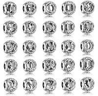 sterling silber europäisches armband großhandel-100% 925 Sterling Silber Europäischen Charme Vintage A-Z Brief Charme Fit Für Pandora Style Armbänder DIY Lose Charme