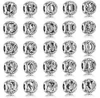 Wholesale Flower Numbers - 100% 925 Sterling Silver European Charms Vintage A-Z Letter Charm Fit For Pandora Style Bracelets DIY Loose Charm