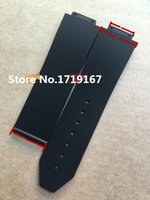 Wholesale 18mm Silicone Watch Strap - For Hub 19x15mm   25.8 x19mm   23 x 18mm Black Litchi grain Diving Silicone Rubber Watch Band Strap Without Buckle+Tools