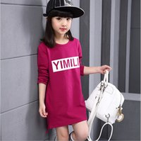 Wholesale Girls Christmas Shirt - Wholesale 2016 casual autumn long cotton t shirt tops dress for girl long sleeve o-neck children clothes with cartoon letters