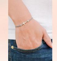 Wholesale Christian Jewelry For Women - Cross bracelet, women bracelet with silver cross charm, christian catholic jewelry, gray cord, gift for her, bridesmaids gift, grey bracelet
