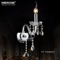 Wholesale E14 Fitting - Contemporary Crystal Wall light fitting Vintage Glass Wall sconces Clear crystal Wall lamp for Dining room Cafe fasting shipping