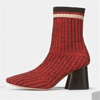 Wholesale High Fashion Knitting - Hot 2017 Women Brand New Shoes Chunky High Heel Sock Boots Fashion Designer Knitting Shoes Round Toe Elastic Casual Booties Shoes A120