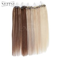 Promotions Ombre 20 '' 25 gr / los 1 gr / sek Micro Loop Ring Links Perlen Echthaar Extensions 100% Remy Einfache Schleife Gerade Extensions