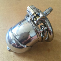 Wholesale large stainless steel chastity device resale online - Locking Male Chastity Device Stainless Steel Crafts sexy Cock Cage With Double Ring Large Size Chastity Cage Adult Sex Toys