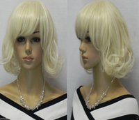 Wholesale Platinum Blonde Short Wigs - 100% Brand New High Quality Fashion Picture full lace wigs>>New wig Cosplay Platinum-Blonde Short Curly Women's Girl Wig