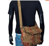 vintage tuval deri haberci çantası toptan satış-Ben EFSANEYIM tuval omuz çantası akarmy retroman messenger çanta ile Kalın hakiki deri adam rahat çanta