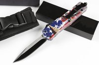 Wholesale british american flags - HIght Recommend Injured tooth dragon A07 (four British American flag) 4modelal Hunting Folding Pocket Knife copies 1pcs freeshipping