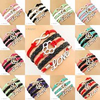 Wholesale Dog Jewelry Charms - High Quality Infinity Love Dog Paw Cat Paw Bracelets Wrap Bracelet Custom Any Theme Variety Colors Drop Shipping Women Men Lady Jewelry Gift