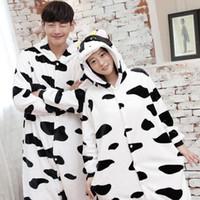 Wholesale Cartoon Onesies - Thicken Flannel White and Black Cow Cartoon Animal Pajamas Hot Sale Winter Long Sleeve Hooded Cute Home Onesies Sleepwear Cosplay Costumes