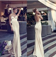 Wholesale Red Hen Picture - Glamorous Champagne Prom Dresses 2017 Mermaid Style Spaghetti Straps Backless Court Train Beads Elastic Satin Long Evening Gowns Nurit Hen