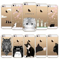 Wholesale Iphone Case Sillicon - Wholesale-Phone Cases For Apple iphone 5 5s SE Love Owl Rabbit Cat Soft Sillicon Transparent TPU Mobile phone bags Back Cover fundas coque