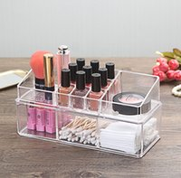 2 Tier Multipurpose Acryl Make-up Organizer Kosmetik Schmuck Display-Box mit separaten stapelbaren Lippenstift Nailpolish Holder Freies Verschiffen