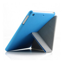 Wholesale Transformer Case Ipad Air - Ultra Thin Slim Light Three Fold Transparent Clear Transformers PU Leather Stand Smart Cover Cases For iPad Air Mini 100pcs lot Free DHL