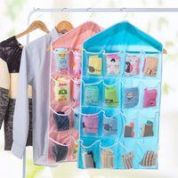 Wholesale stuffed underwear resale online - L size lattice Underwear storage bag Small items hanging bag Behind the wall door Debris Stuff bag IA838