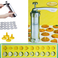 Wholesale Cookie Pump - Metal Biscuit Cookie Making Maker Pump Press Machine Cake Decor Set Ergonomic Handle Cooking Tool Mould with 20 Moulds 4 Nozzles Merry Chris