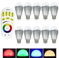led spot uzaktan kumanda toptan satış-Sıcak! 2.4G 9W Aydınlatma Ampul RGBW LED Dim lambalar E27 AC85V-265V Mi Işık Serisi + 4 bölgeli uzaktan kumanda + Wifi kontrolörü RGB + Beyaz