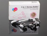 Wholesale Dermaroller Micro Needles - TM-DR005 MOQ 1piece 3-in-1 Kit Derma Roller for Body and Face and eyeTitanium Micro Needle Roller 180 600 1200 Needles Skin DermaRoller