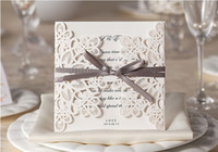 Wholesale folded silver wedding invitation card for sale - Group buy 2019 New Style Ivory Hollow Wedding Invitations Cards Craft Supplies Bridal Invitations