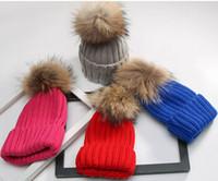 Wholesale Mink Fur Yarn - Quality Removable Real Mink Fox Fur Pom Poms Ball Acrylic Beanies Winter Warm Plain Hats Adults Slouchy Mens Womens Snow Warm Hat MOQ 10 pcs