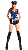 Wholesale Sexy Police Officer Costumes - Free Shipping Hot Sale Sexy Cool Police Costume Ravishing Rookie Police Officer Costume Halloween Police Cosplay Costumes 4F1432