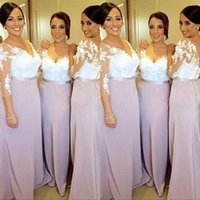 Wholesale Two Tone Long Bridesmaid Dresses - 2016 Elegant Bridesmaid Dress Long Mermaid V Neck Illusion Sleeves Lace Appliques Two Tone Formal Prom Party Gowns with Sash and Sweep Train