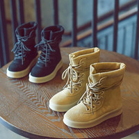 Wholesale Childrens Ankle Boots - Genuine Leather Kids Boots Lace up Ankle Childrens Martin Boots Solid Casual Shoes for Boys and Girls K002