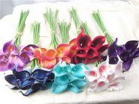 suni düğün buketleri mor toptan satış-Sıcak satış yapay Çiçekler 9 adet / grup Mini Mor Beyaz Calla Zambak Buketleri Gelin Düğün Buket Dekorasyon için Sahte Çiçek