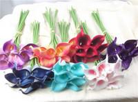 mini flores roxas venda por atacado-Venda quente Flores artificiais 9 peças / lote Mini Roxo em Branco Buquês de Lírio para Decoração Do Casamento De Noiva Bouquet Flor Falsa