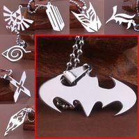 Wholesale Dragon Pendant Necklaces - 29 models Titanium superhero Avengers The Flash batman superman lightning Elder Scrolls dragon pendant necklaces for women men jewelry